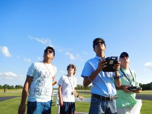 Students at R/C flying field