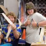 High school students with model gliders